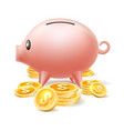 piggybank with cash coins vector image