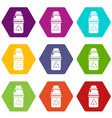 purified water container icons set 9 vector image