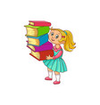 schoolgirl with books cartoon character isolated vector image