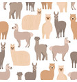 seamless pattern with cute llamas and alpacas on vector image