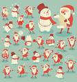 set acting santa and snowman vector image vector image
