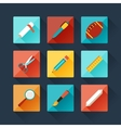 set education icons in flat design style vector image vector image