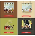 set of posters with people in cafe and vector image vector image