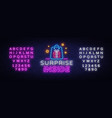 surprise neon sign design template vector image vector image