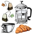 Tea time colorful objects collection vector image