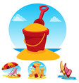 toy bucket beach chair and umbrella sand castle vector image