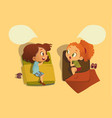 two school girls talking to each other vector image