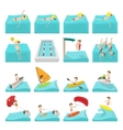 Water sport cartoon icons vector image vector image
