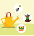 watering can shovel potted flowers gardening image vector image