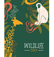 wildlife day safari card with wild animals vector image vector image