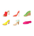 woman shoes icon set cartoon style vector image vector image