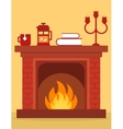 cozy fireplace on room vector image