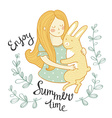 Summer card The girl with a rabbit in flowers vector image