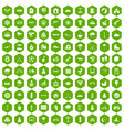100 kids games icons hexagon green vector image vector image