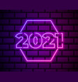 2021 neon text 2021 new year design template vector image