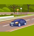 automobile on road against background modern vector image vector image