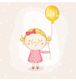 Baby Girl with a Balloon - Baby Shower Card vector image vector image