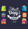 back to school postcard backpack sign vector image vector image