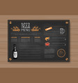 beer and sea food menu design for restaurant cafe vector image vector image