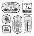 black and white vintage travel stamps with major vector image