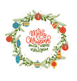 christmas wreath with leaves pine branches vector image