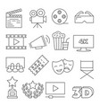 cinema line icons on white background vector image vector image