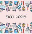 education school supplies backround design vector image vector image