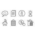 education shopping bag and speech bubble icons vector image