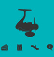 fishing reel icon flat vector image vector image