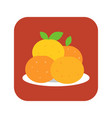 four mandarin orange in plate vector image vector image