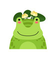 funny frog in wreath of lotus flowers cute vector image