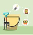 gardening work bucket fork shovel flowers image vector image