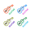 Guitar music shop logo Guitar lessons icon Outline vector image
