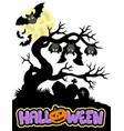 halloween cemetery silhouette 1 vector image vector image