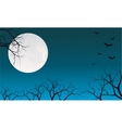 Halloween dry tree and bat silhouette vector image