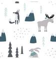 Hand drawn seamless pattern with wild animals new