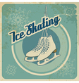Ice skating retro card vector image
