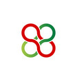infinity logo with 4 circles in red and green vector image vector image