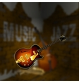 Jazz music corner brick wall blurred background vector image vector image