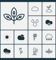 landscape icons set collection of raindrop plant vector image vector image