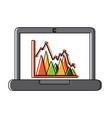 laptop computer screen financial business chart vector image