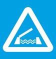 Lifting bridge warning sign icon white