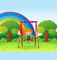 little boy playing on the swing in the park vector image vector image