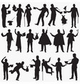magician silhouettes vector image