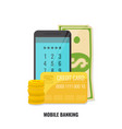 mobile banking concept smartphone with cash and vector image