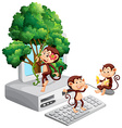 Monkeys playing and eating on computer screen vector image vector image