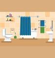 orange bathroom with furniture vector image