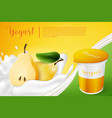 pears yogurt ads template background vector image