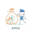 Police stands with a bag of money vector image vector image