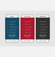 pricing table template for website and application vector image
